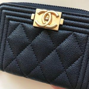 4b4c8a4a1d41 CHANEL Accessories - Chanel Navy Caviar Boy Zip Coin Purse Card Holder